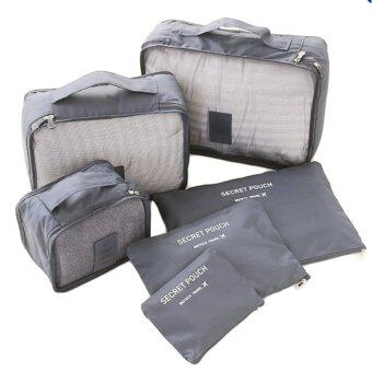 meet กระเป๋าจัดระเบียบเสื้อผ้าสำหรับเดินทาง 6 ชิ้น Travel Organizers Packing Pouches Set 6 Pieces (Gray/สีเทา)