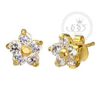 555jewelry เครื่องประดับ ต่างหูสตั๊ดประดับ CZ ดีไซน์รูปดอกไม้ เรียบหรู รุ่น MNC-BER593-B (สีทอง)