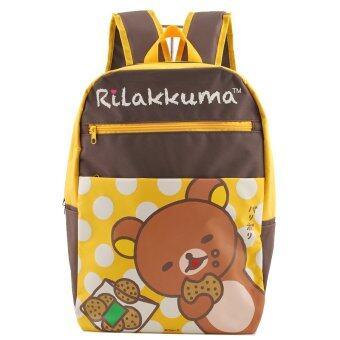 Rilakkuma กระเป๋าเป้ กระเป๋านักเรียน สะพายหลัง (สีน้ำตาลคาดเหลือง)