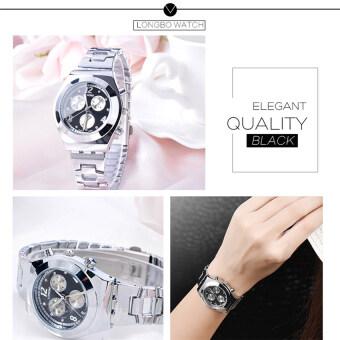 2559 คุณภาพดีที่สุด LONGBO ผู้หญิง S ' แฟชั่นการตกแต่งแบบสามตาเพชรประดับด้วยนาฬิกาข้อมือ (สีดำ)