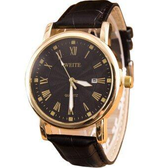 MEGA Quartz Waterproof Calendar Wristwatch หรูหรานาฬิกาข้อมือ สายหนัง กันน้ำ รุ่น MG0007 (Black/Black)