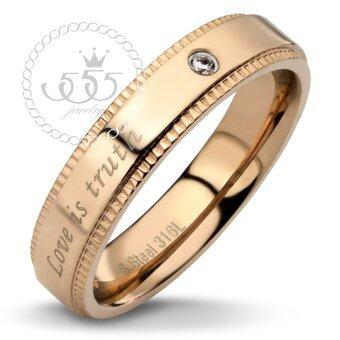 555jewelry แหวนดีไซน์เรียบ Love is Truth สี พิ้งโกลด์ รุ่น MNR-091T-C - แหวนเรียบ แหวนผู้หญิง สแตนเลสสตีล Unisex