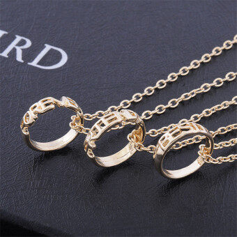 Harga Jetting Buy 3PCS Chic Best Friend Forever Ring Pendant Necklace Friendship Letters Necklace Gold