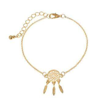 Harga High Quality Store New Hot Leaf Feather Tassel Chain Silver Dream Catcher Bracelet Women Jewelry Gold