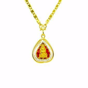 Tfine สร้อยแปดทับแบน18นิ้วพร้อมจี้พระพุทธชินราชใบโพธิ์ล้อมเพชรชุบทอง