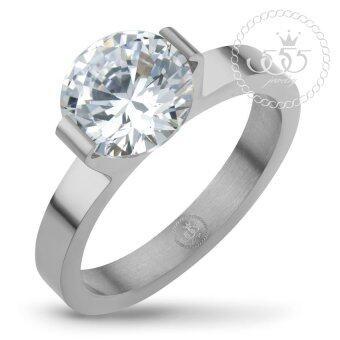 555jewelry เครื่องประดับ ผู้หญิง แหวน สแตนเลสสตีล - แหวนน่ารักประดับ CZ สีขาวตัวเรือน สี สตีลเงิน รุ่น MNC-R674-A