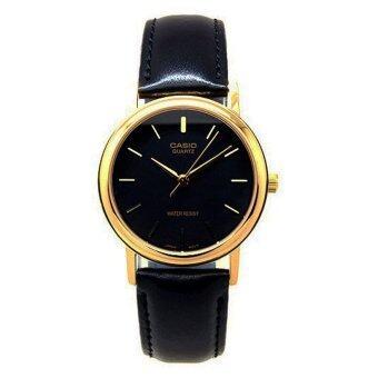 Casio Gent quartz นาฬิกาข้อมือผู้ชาย สีดำ สายหนัง รุ่น MTP-1095Q-1A