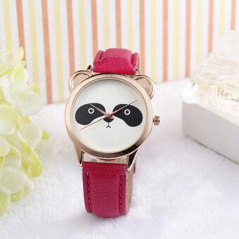 แพนด้าน่ารักหน้าตาเฉยเพชรนาฬิกาควอทซ์หนังเทียมสีแดง