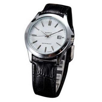 Easybuy SA128 นาฬิกาข้อมือสายหนังผู้ชายผู้หญิงธุรกิจของขวัญนาฬิกาควอทซ์คล้ายคลึง
