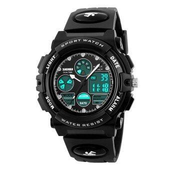 2016 คุณภาพสูง SKMEI 1163 นักกีฬากลางแจ้ง Noctilucent มัลติฟังก์ชั่นนาฬิกากันน้ำอิเล็กทรอนิกส์ (สีดำ)