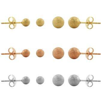 555jewelry เครื่องประดับ ต่างหูสตั๊ด สแตนเลสสตีล - ต่างหูแฟชั่น สีสตีลเงิน , พิ้งโกลด์ , ทอง ขายส่ง6ชิ้น รุ่น SIXSET009