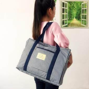 TravelGear24 New Design กระเป๋าเดินทางแบบพับได้ ลายทาง (Pink/สีชมพู) ล็อกกับกระเป๋าเดินทางได้ Travel Strip Foldable Bag กระเป๋าพับได้ Duffle Bag Folding Luggage (image 2)
