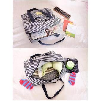 TravelGear24 New Design กระเป๋าเดินทางแบบพับได้ ลายทาง (Pink/สีชมพู) ล็อกกับกระเป๋าเดินทางได้ Travel Strip Foldable Bag กระเป๋าพับได้ Duffle Bag Folding Luggage (image 4)