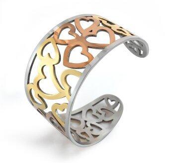 555jewelry กำไลสำหรับสุภาพสตรี รุ่น FSBG106-MT ( Gold/Silver/Pink Gold )
