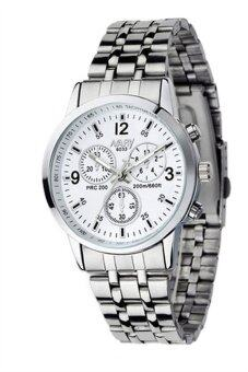 นาฬิกาข้อมือหรูสำหรับผู้หญิงแบบควอทซ์รุ่นสเตนเลสกันน้ำ สีขาวมุก