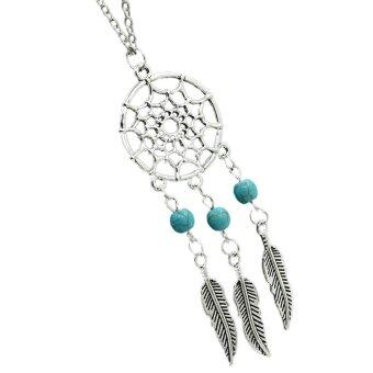 Harga Fashion statement necklace retro women bohemia Three turquoise tassels Necklace feather dream catcher vintage popular