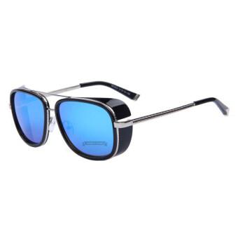 IRON MAN 3 ท่านมัทสึดะ TONY แว่นตากันแดดยี่ห้อแบรนด์เนม mirror สตีมพังก์ผู้ชายแว่นตาแว่นกันแดดวินเทจ B1 031...04 (เงินกรอบสีน้ำเงินเลนส์)