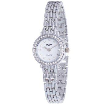 MEGA Fashion Wristwatch Chain Watch Strap หรูหราแฟชั่นนาฬิกาข้อมือผู้หญิง หรูหราแฟชั่นนาฬิกาข้อมือผู้หญิง สายหนังนาฬิกาโซ่ รุ่น MG0025 (Silver)