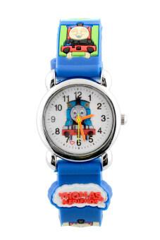 Aukey 3D รถไฟลายการ์ตูนสีน้ำเงินสายนาฬิกาลายการ์ตูนเด็ก