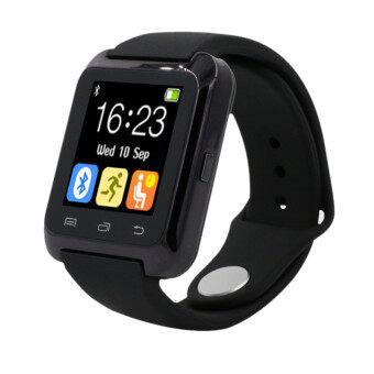 นาฬิกาข้อมือเครื่องวัดระยะทางเดินแข็งแรงฉลาดบลูทูธสำหรับ iPhone LG Samsung สีดำ