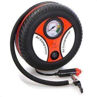 ปั้มลมไฟฟ้าสำหรับรถยนต์ แบบพกพา รูปล้อรถ Air Pump 260PSI 12 V (Black/Orange)