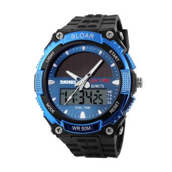 SKMEI นาฬิกากีฬาแฟชั่นสไตล์ทหารพลังงานแสงอาทิตย์แบบ Dual
