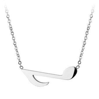 555jewelry จี้พร้อมสร้อย สแตนเลสสตีล - จี้คู่รักดีไซน์สวยรูปตัวโน๊ต (สี สตีล)