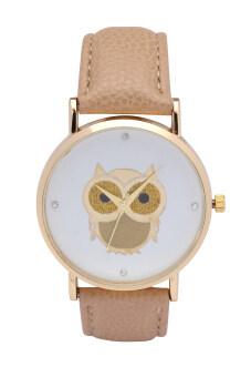 นิวแฟชั่นแต่งตัวสไตล์การ์ตูนนกทองนาฬิกาจับเวลานาฬิกาข้อมือผู้หญิงเล่นนาฬิกาควอทซ์ (สีน้ำตาลอ่อน)