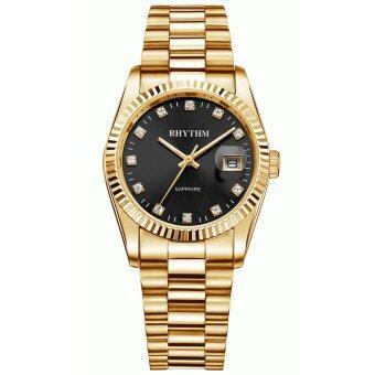 RHYTHM (รึ่ทึ่ม) นาฬิกาข้อมือผู้ชาย สแตนเลสทอง รุ่น R1202S06 (Black)