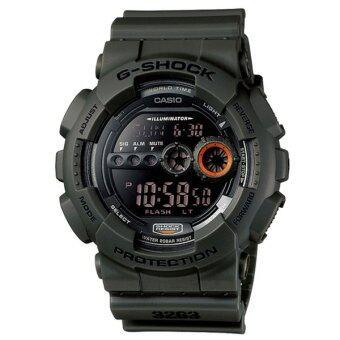 Casio G-Shock นาฬิกาข้อมือผู้ชาย สายเรซิ่น รุ่น GD-100MS-3A - สีเขียวเข้ม