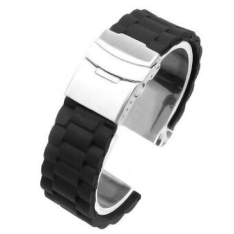 ซิลิโคนกันน้ำใช้แทนสายรัดข้อมือสายนาฬิกาสปอร์ตใช้เข็มกลัดสร้อยข้อมือ 22มม. (สีดำ)