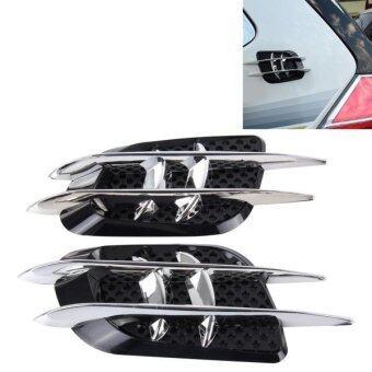 OUSHIBA OB-514 2 PCS JDM Style Car Decorative Air Flow Intake Turbo Bonnet Hood Side Vent Grille Cover Sticker - intl