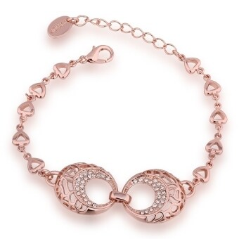 Harga Good QualityNickle Free Antiallergic 2015 New Fashion Jewelry 18K Real Gold Plated Bracelets For Women (Rose Gold) - Intl - intl