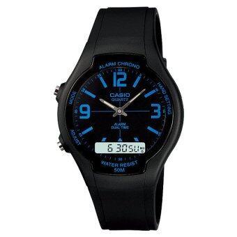 Casio Standard Men นาฬิกาข้อมือ รุ่น AW-90H-2B - Black/Blue