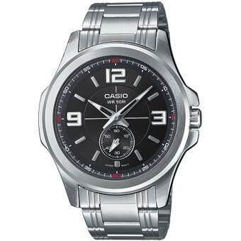 CASIO นาฬิกาข้อมือผู้ชาย สายสแตนเลส รุ่น MTP-E112D-1A - Silver (ประกันCMG)