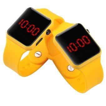 PA-HY LED นาฬิกาแฟชั่นกีฬาบุคลิกภาพรัดซิลิโคนสีเหลือง 802112