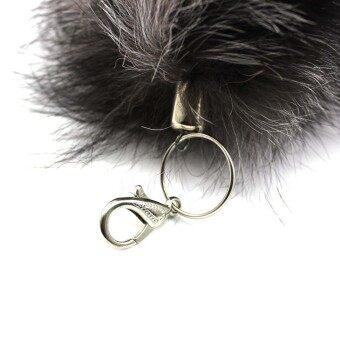Vanker เลียนแบบขนสุนัขกระเป๋าถือกระเป๋าสะพายพู่หางติดโซ่กุญแจไขจี้ (สุ่ม)