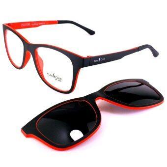 KOREA แว่นตา รุ่น POLO P-011 สีดำตัดแดง มีคลิปแม่เหล็ก เลนส์กันแดด + เบาและยืดหยุ่นสูง