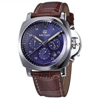 ชายเสื้อยี่ห้อ Megir นาฬิกาโครโนกราฟนาฬิกาหรูหนังทหาร (เงิน)