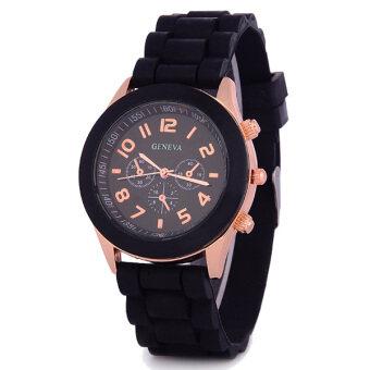 Geneva นาฬิกาข้อมือผู้หญิง สายซิลิโคน สีดำ Fashion Casual Silicon Women Watch - Black