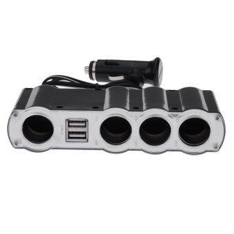 Firstseller 2 Way 12/24v in Car Usb + 4 Socket Cigarette Lighter Splitter Charger Adapter (Black)