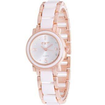 MEGA Quartz Waterproof Fashion Wristwatch หรูหราแฟชั่นนาฬิกาข้อมือผู้หญิง เทคโนโลยีเซรามิก รุ่น MG0009 (White/Gold)