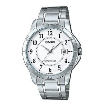 CASIO Gent quartz นาฬิกาข้อมือผู้ชาย สีเงิน สายสแตนเลส รุ่น MTP-V004D-7BUDF