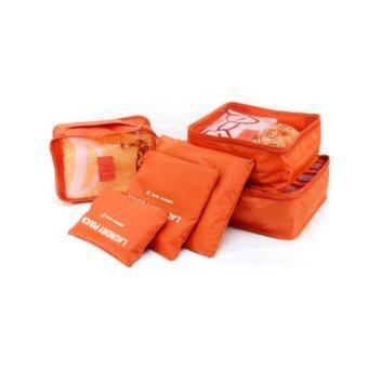 Monopoly กระเป๋าจัดระเบียบเสื้อผ้าสำหรับเดินทาง - Orange (เซ็ท 6 ชิ้น)