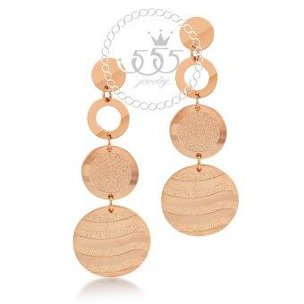 555jewelry ต่างหูแบบห้อยรูปวงกลม รุ่น MNC-ER371-C - Pink Gold