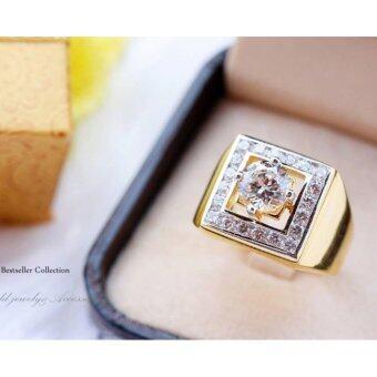 ManeeNopparut มณีณพรัช แหวนทอง (ชาย) เพชร สี่เหลี่ยมรุ่น RM023