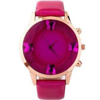 MEGA Top Luxury Crystal Butterfly Dial Leather Watchband Casual Quartz Dress Wristwatch หรูหรานาฬิกาข้อมือ สายหนัง กันน้ำ รุ่น MG0023 (Rose)