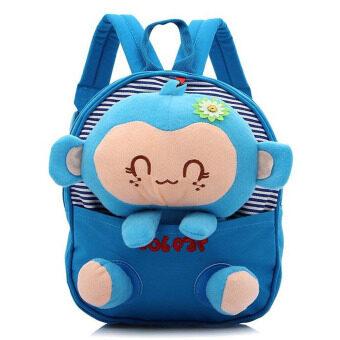 Kids Boys Girls Cartoon Monkey Shape Canvas School Bag Azure