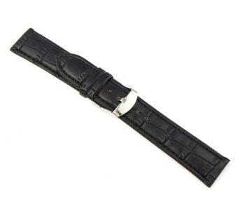 20มมเข็มขัดหนังแท้นิ่มรัดสายนาฬิกาข้อมือเหล็กสีดำ