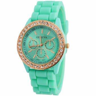 นาฬิกาข้อมือผู้หญิง สายซิลิโค ประดับเพชร